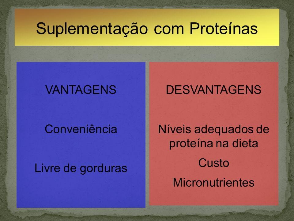 Suplementação com Proteínas VANTAGENS Conveniência Livre de gorduras DESVANTAGENS Níveis adequados de proteína na dieta Custo Micronutrientes