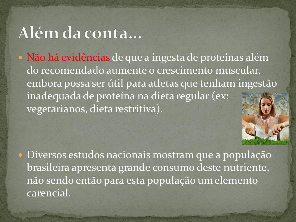 Não há evidências de que a ingesta de proteínas além do recomendado aumente o crescimento muscular, embora possa ser útil para atletas que tenham inge