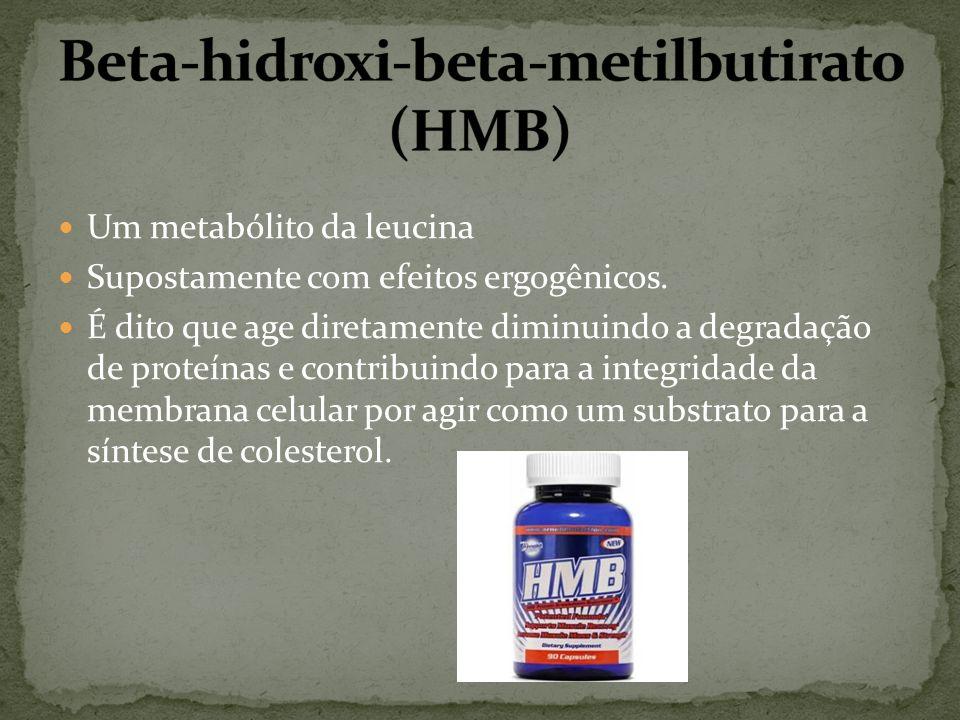 Um metabólito da leucina Supostamente com efeitos ergogênicos. É dito que age diretamente diminuindo a degradação de proteínas e contribuindo para a i