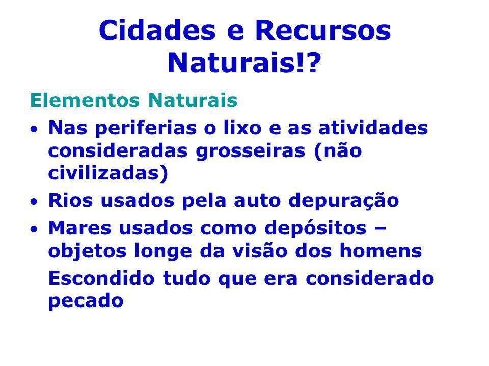 Cidades e Recursos Naturais!? Elementos Naturais Nas periferias o lixo e as atividades consideradas grosseiras (não civilizadas) Rios usados pela auto