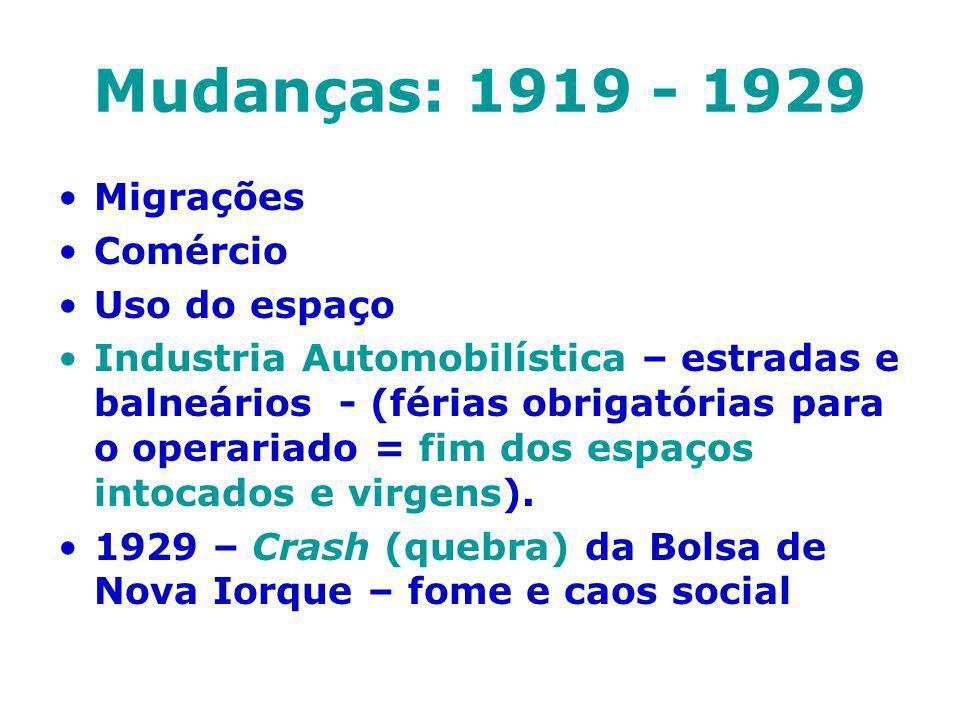 Mudanças: 1919 - 1929 Migrações Comércio Uso do espaço Industria Automobilística – estradas e balneários - (férias obrigatórias para o operariado = fi