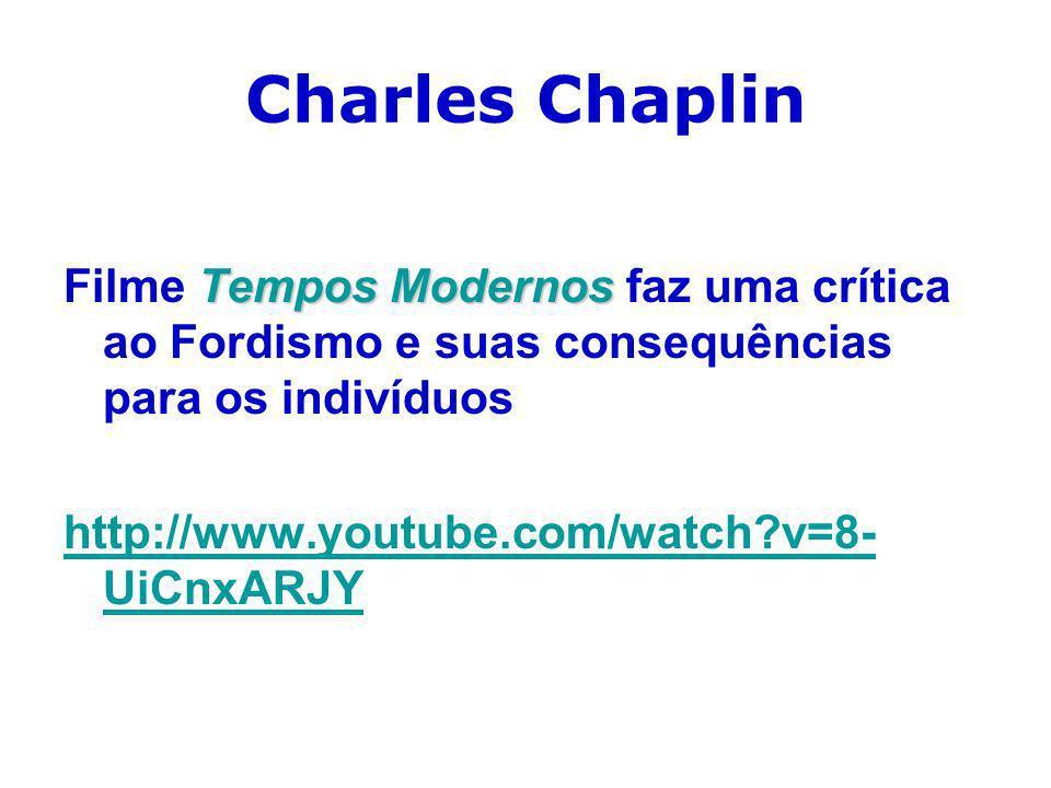 Charles Chaplin Tempos Modernos Filme Tempos Modernos faz uma crítica ao Fordismo e suas consequências para os indivíduos http://www.youtube.com/watch