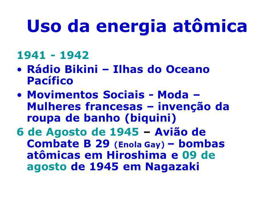Uso da energia atômica 1941 - 1942 Rádio Bikini – Ilhas do Oceano Pacífico Movimentos Sociais - Moda – Mulheres francesas – invenção da roupa de banho