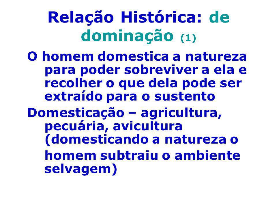 Relação Histórica: de dominação (1) O homem domestica a natureza para poder sobreviver a ela e recolher o que dela pode ser extraído para o sustento D