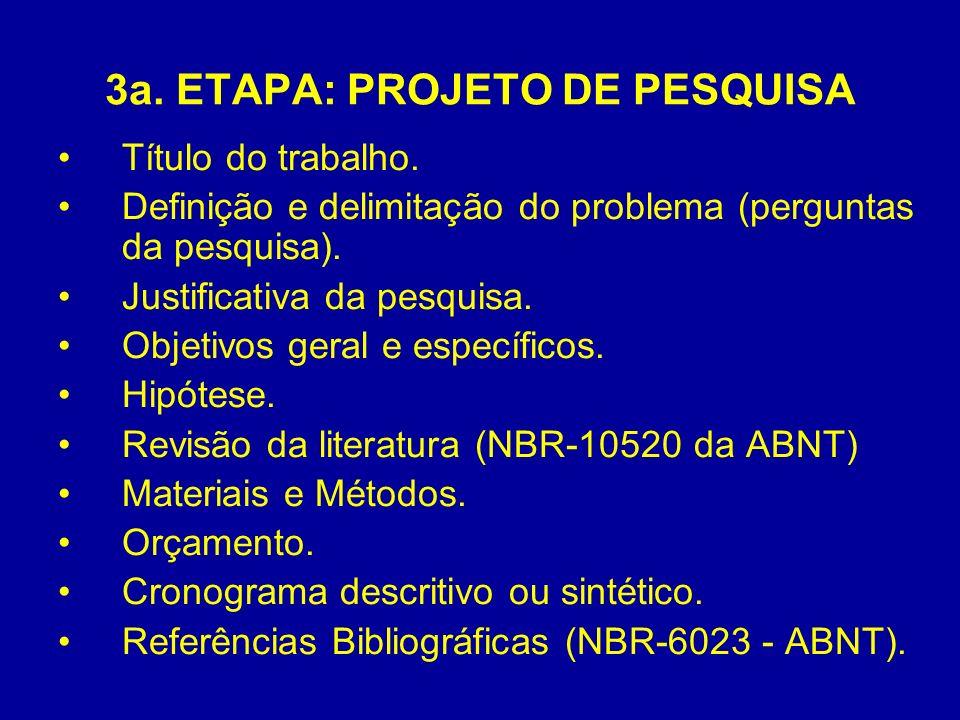 3a. ETAPA: PROJETO DE PESQUISA Título do trabalho. Definição e delimitação do problema (perguntas da pesquisa). Justificativa da pesquisa. Objetivos g