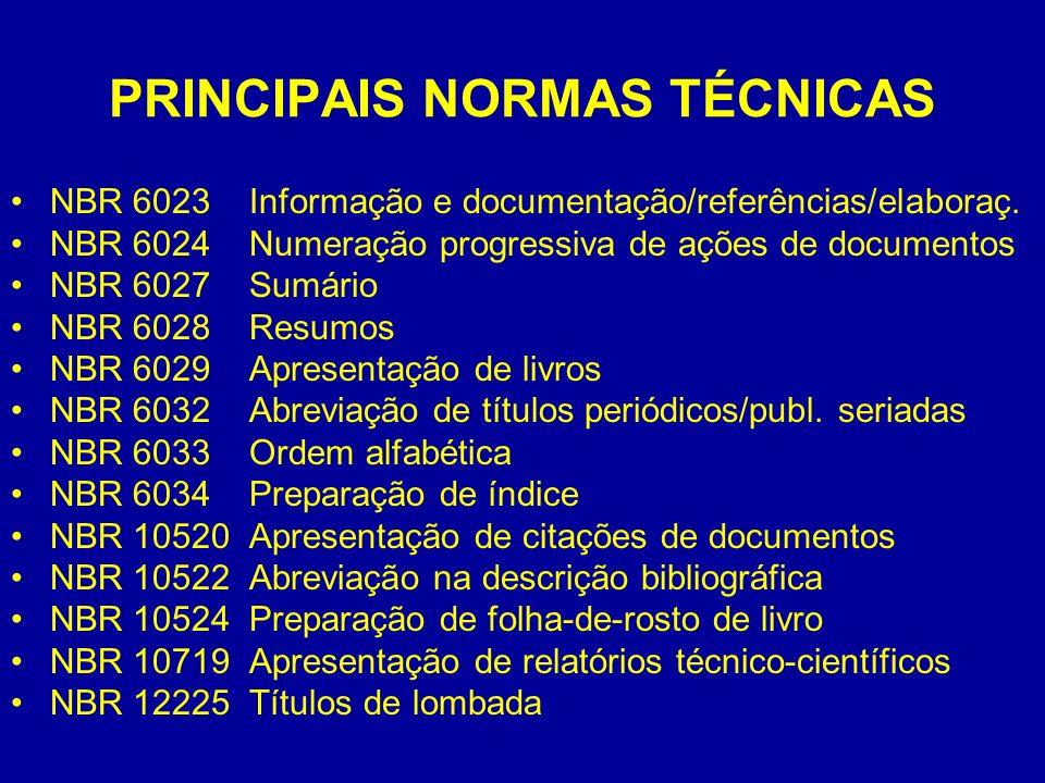PRINCIPAIS NORMAS TÉCNICAS NBR 6023 Informação e documentação/referências/elaboraç. NBR 6024 Numeração progressiva de ações de documentos NBR 6027 Sum