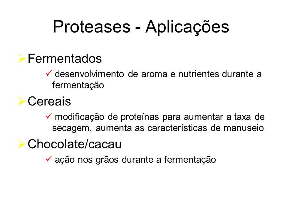 Proteases - Aplicações Fermentados desenvolvimento de aroma e nutrientes durante a fermentação Cereais modificação de proteínas para aumentar a taxa d
