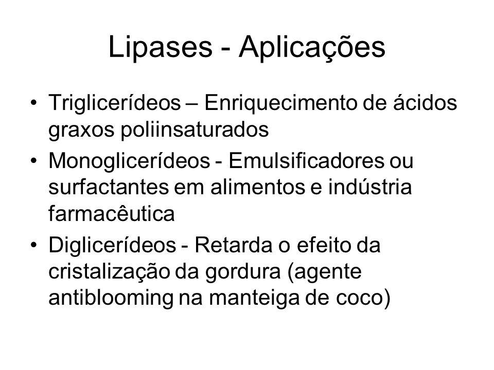 Lipases - Aplicações Triglicerídeos – Enriquecimento de ácidos graxos poliinsaturados Monoglicerídeos - Emulsificadores ou surfactantes em alimentos e