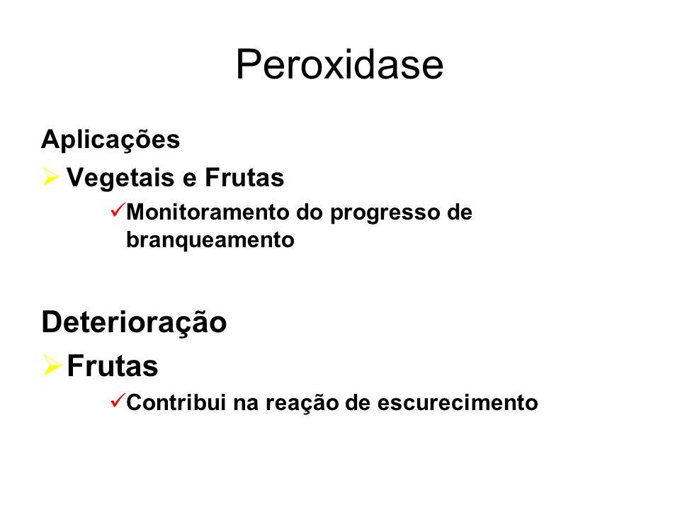 Peroxidase Aplicações Vegetais e Frutas Monitoramento do progresso de branqueamento Deterioração Frutas Contribui na reação de escurecimento