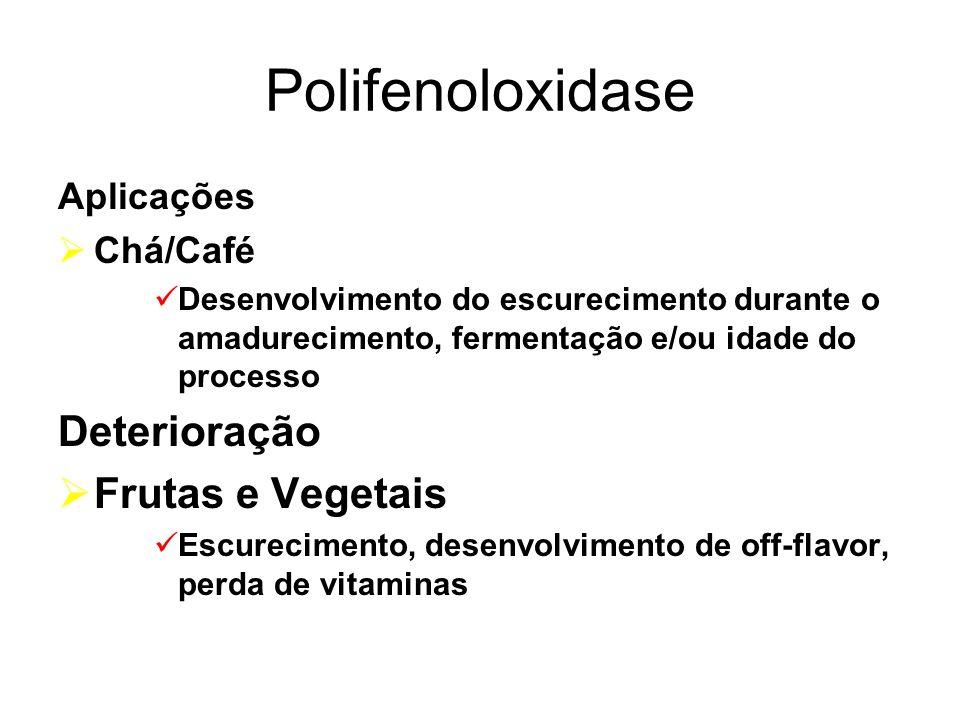 Polifenoloxidase Aplicações Chá/Café Desenvolvimento do escurecimento durante o amadurecimento, fermentação e/ou idade do processo Deterioração Frutas