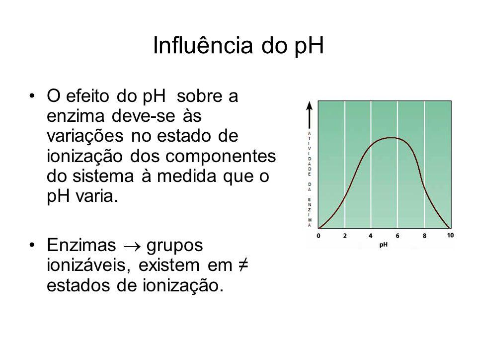 Influência do pH O efeito do pH sobre a enzima deve-se às variações no estado de ionização dos componentes do sistema à medida que o pH varia. Enzimas