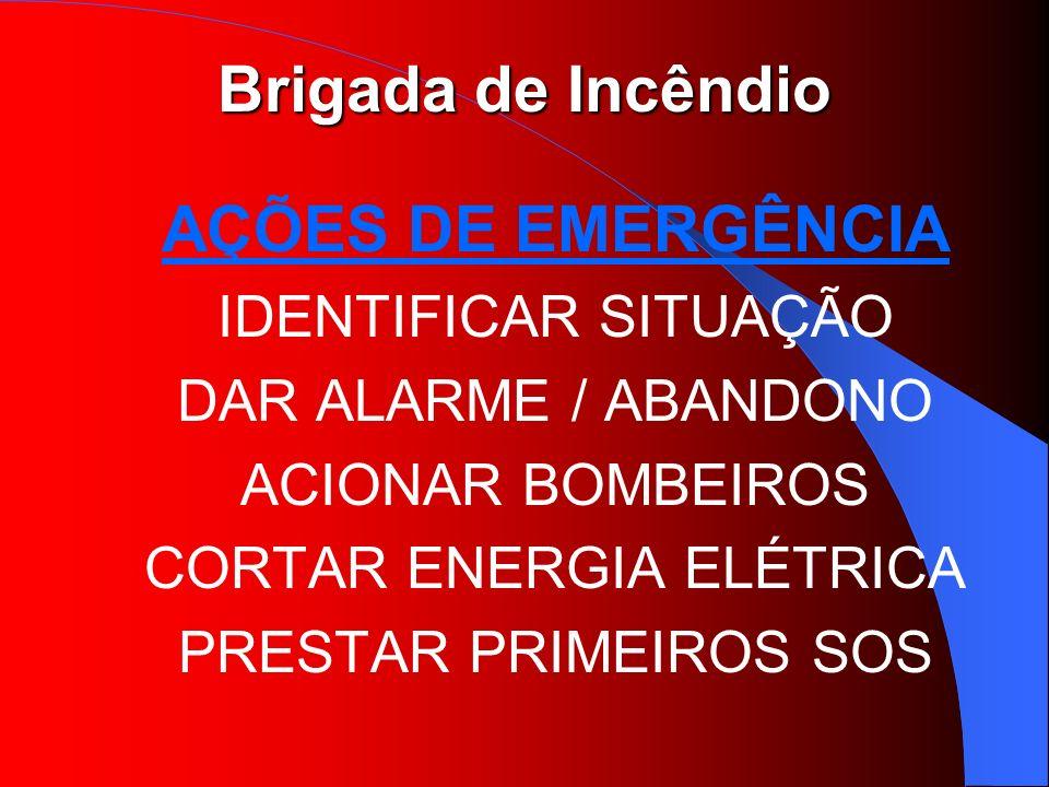 Brigada de Incêndio AÇÕES DE EMERGÊNCIA IDENTIFICAR SITUAÇÃO DAR ALARME / ABANDONO ACIONAR BOMBEIROS CORTAR ENERGIA ELÉTRICA PRESTAR PRIMEIROS SOS