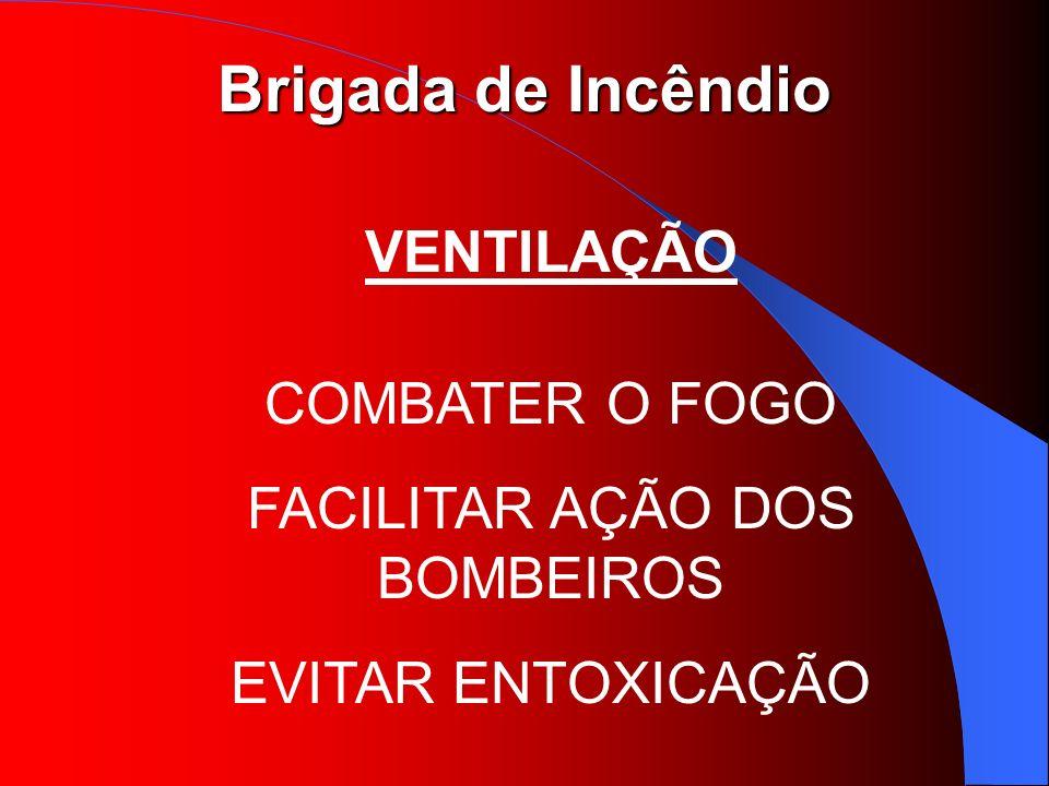 Brigada de Incêndio VENTILAÇÃO COMBATER O FOGO FACILITAR AÇÃO DOS BOMBEIROS EVITAR ENTOXICAÇÃO