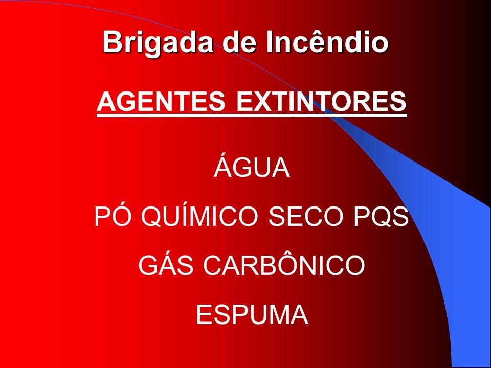 Brigada de Incêndio AGENTES EXTINTORES ÁGUA PÓ QUÍMICO SECO PQS GÁS CARBÔNICO ESPUMA