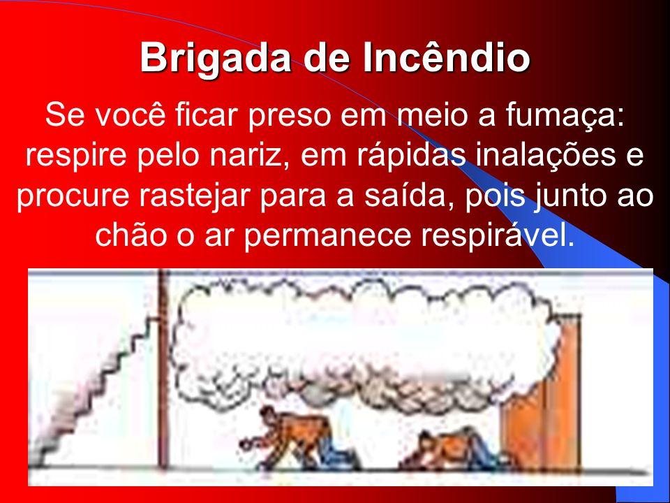 Brigada de Incêndio Se você ficar preso em meio a fumaça: respire pelo nariz, em rápidas inalações e procure rastejar para a saída, pois junto ao chão