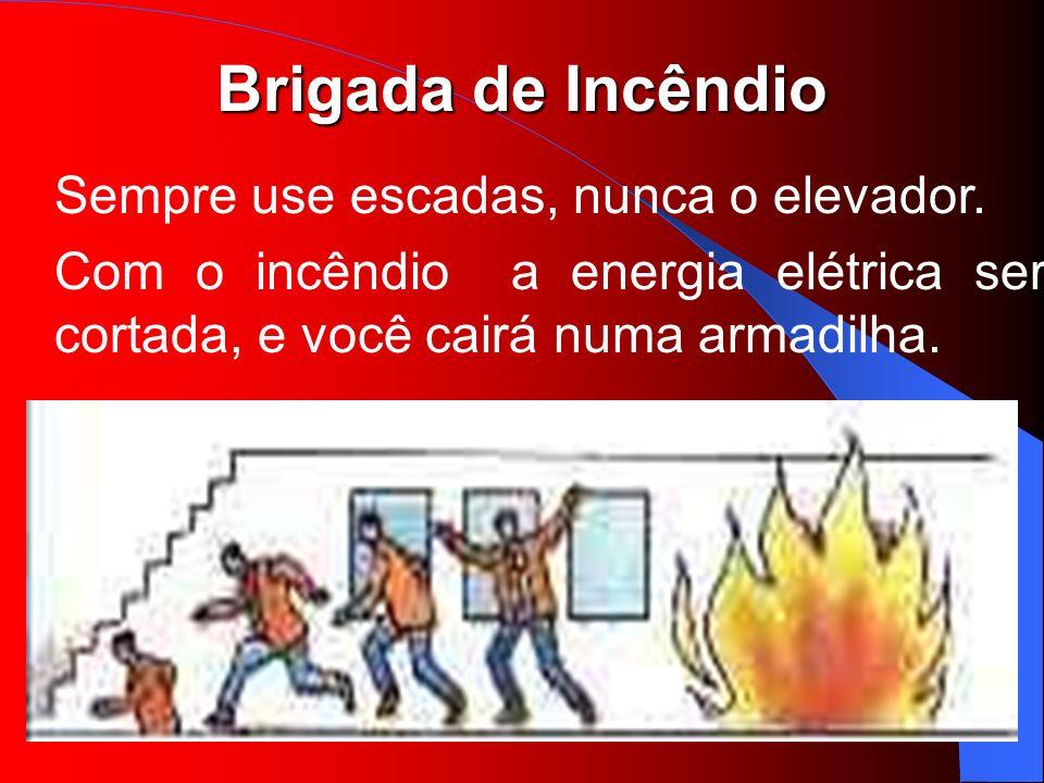Brigada de Incêndio Sempre use escadas, nunca o elevador. Com o incêndio a energia elétrica será cortada, e você cairá numa armadilha.