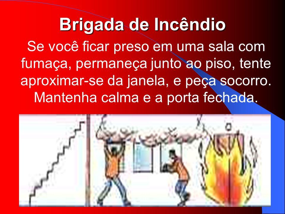 Brigada de Incêndio Se você ficar preso em uma sala com fumaça, permaneça junto ao piso, tente aproximar-se da janela, e peça socorro. Mantenha calma