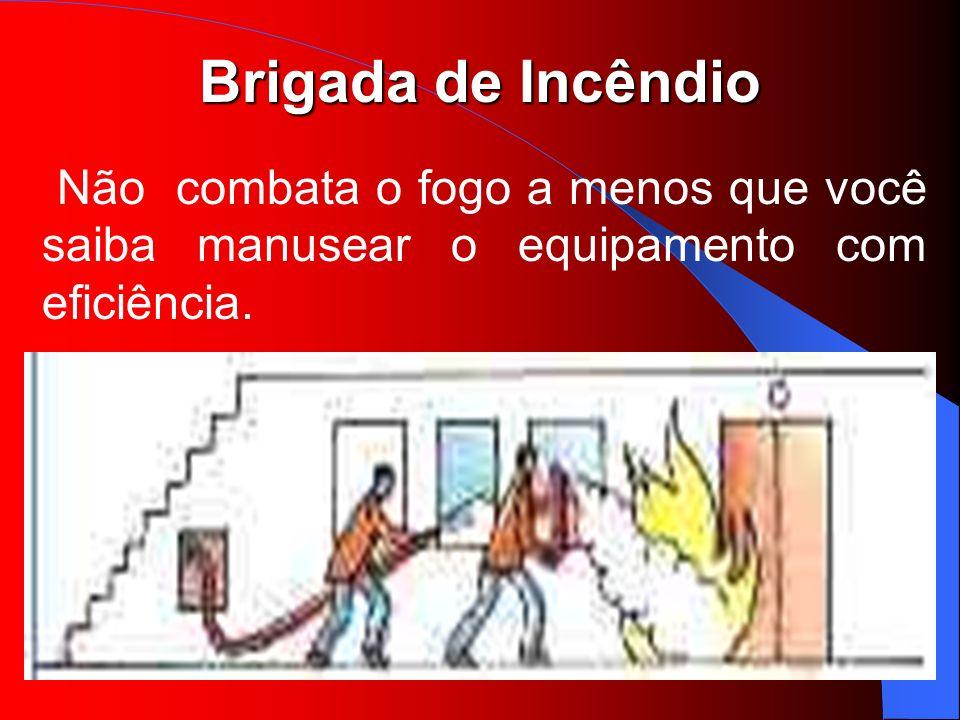 Brigada de Incêndio Não combata o fogo a menos que você saiba manusear o equipamento com eficiência.