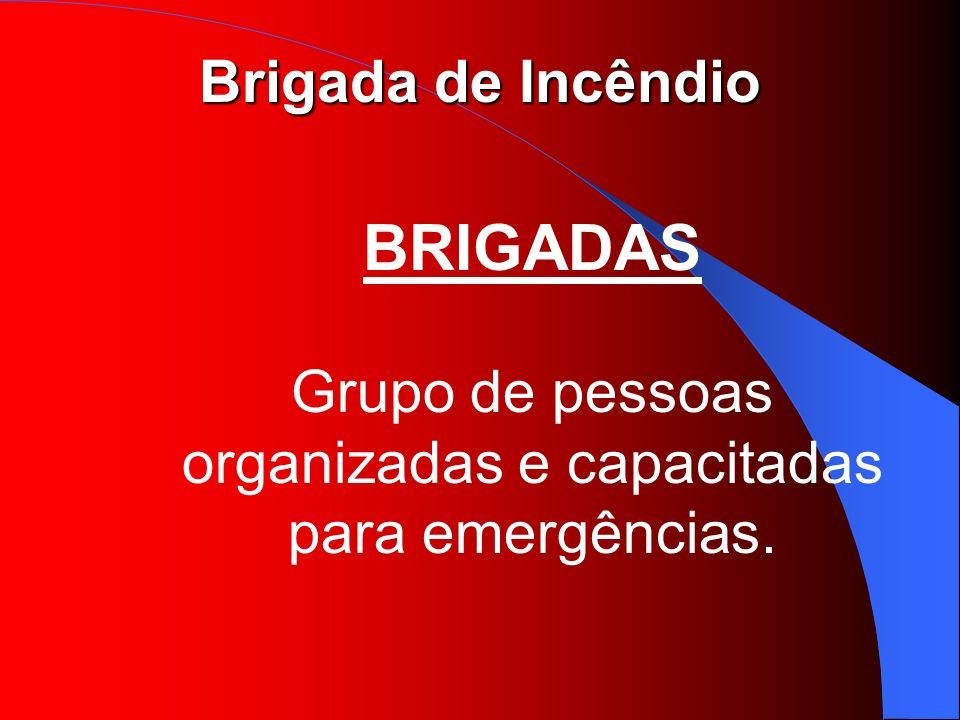 Brigada de Incêndio BRIGADAS Grupo de pessoas organizadas e capacitadas para emergências.