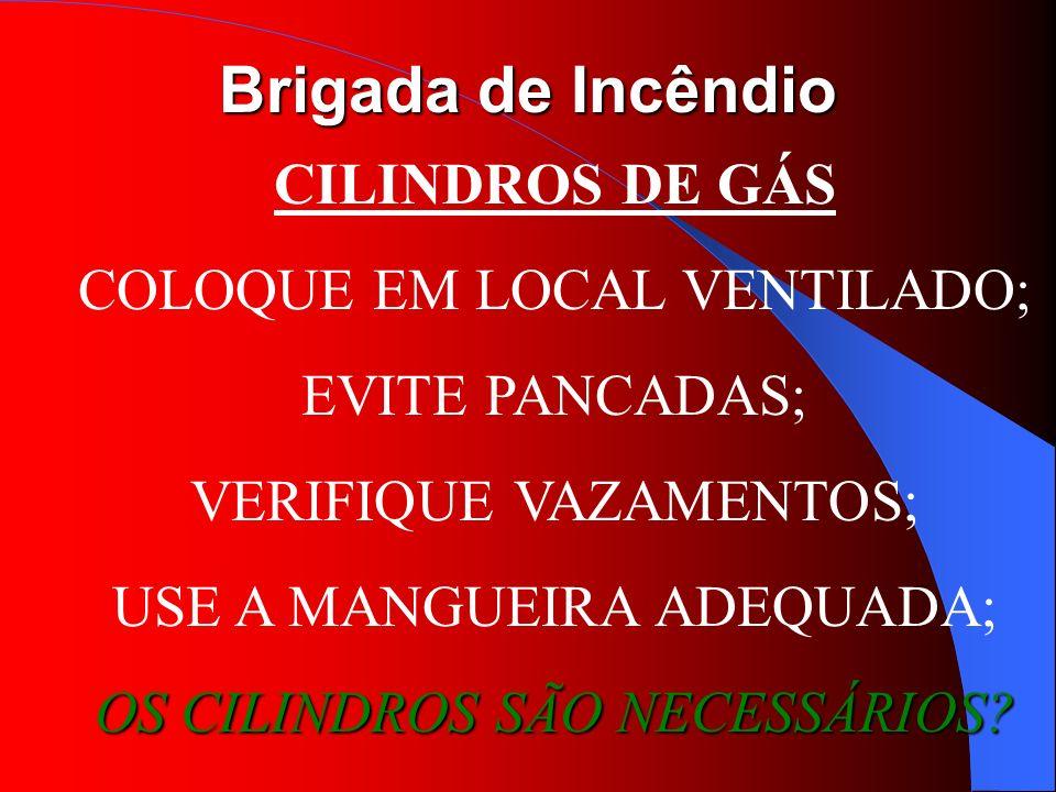 Brigada de Incêndio CILINDROS DE GÁS COLOQUE EM LOCAL VENTILADO; EVITE PANCADAS; VERIFIQUE VAZAMENTOS; USE A MANGUEIRA ADEQUADA; OS CILINDROS SÃO NECE