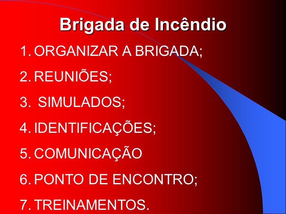 Brigada de Incêndio 1.ORGANIZAR A BRIGADA; 2.REUNIÕES; 3. SIMULADOS; 4.IDENTIFICAÇÕES; 5.COMUNICAÇÃO 6.PONTO DE ENCONTRO; 7.TREINAMENTOS.