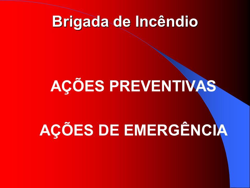 Brigada de Incêndio AÇÕES PREVENTIVAS AVALIAR RISCOS EXISTENTES INSPECIONAR EQUIPAMENTOS INSPECIONAR ROTAS DE FUGA ELABORAR RELATÓRIOS ORIENTAR PESSOAS EFETUAR SIMULADOS