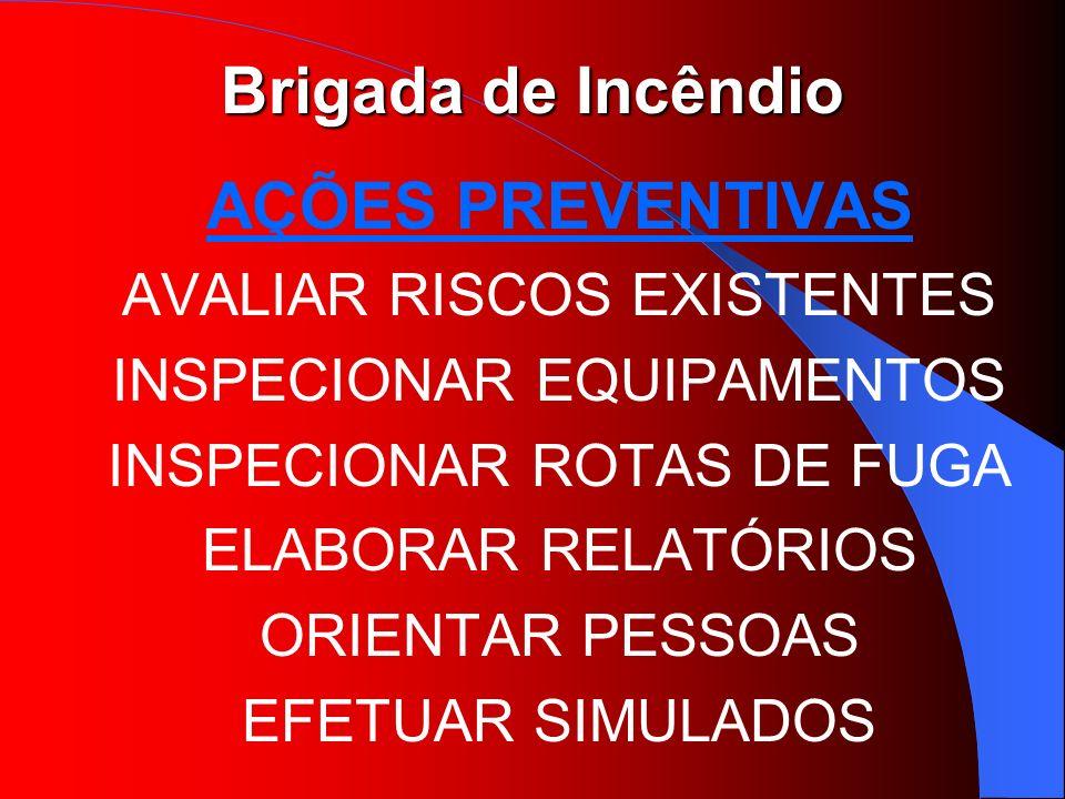 Brigada de Incêndio AÇÕES PREVENTIVAS AVALIAR RISCOS EXISTENTES INSPECIONAR EQUIPAMENTOS INSPECIONAR ROTAS DE FUGA ELABORAR RELATÓRIOS ORIENTAR PESSOA