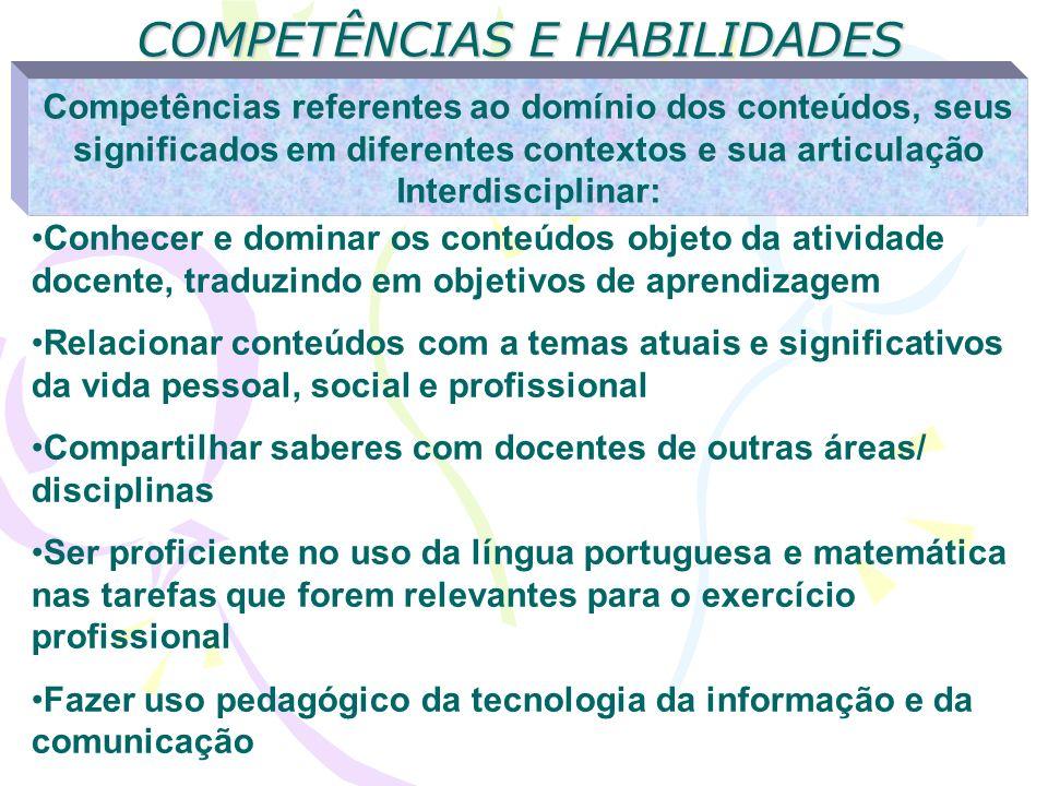COMPETÊNCIAS E HABILIDADES Competências referentes ao domínio dos conteúdos, seus significados em diferentes contextos e sua articulação Interdiscipli