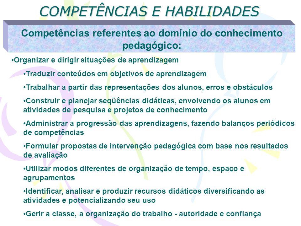 COMPETÊNCIAS E HABILIDADES Competências referentes ao domínio do conhecimento pedagógico: Organizar e dirigir situações de aprendizagem Traduzir conte