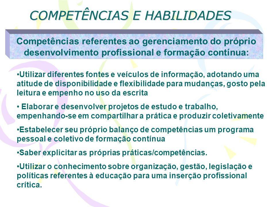 COMPETÊNCIAS E HABILIDADES Competências referentes ao gerenciamento do próprio desenvolvimento profissional e formação contínua: Utilizar diferentes f