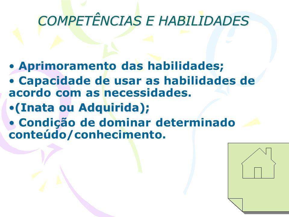 COMPETÊNCIAS E HABILIDADES Aprimoramento das habilidades; Capacidade de usar as habilidades de acordo com as necessidades. (Inata ou Adquirida);(Inata