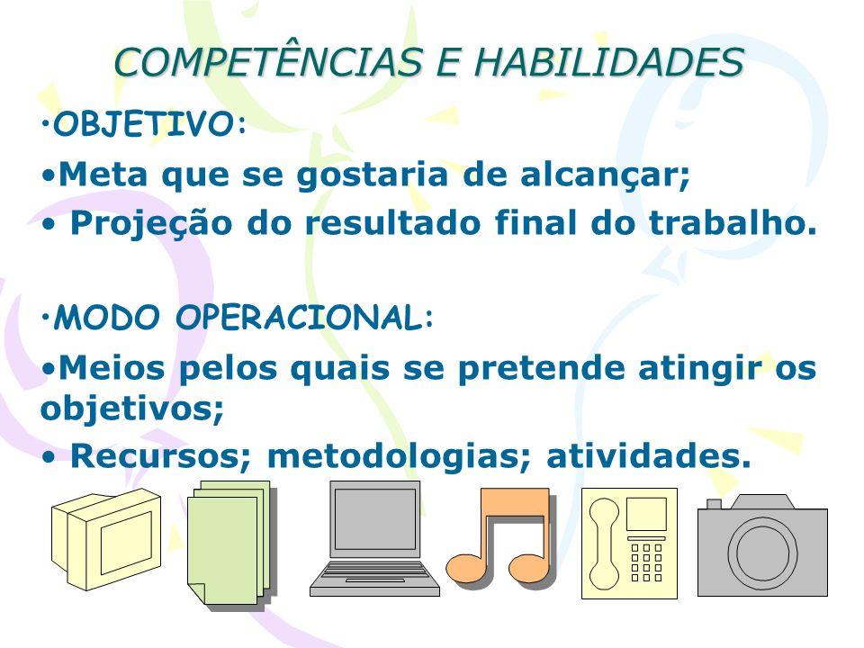 COMPETÊNCIAS E HABILIDADES OBJETIVO: Meta que se gostaria de alcançar; Projeção do resultado final do trabalho. MODO OPERACIONAL: Meios pelos quais se