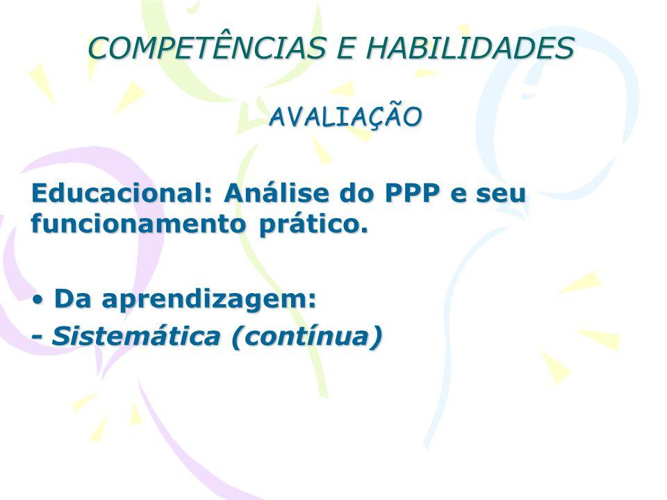 COMPETÊNCIAS E HABILIDADES AVALIAÇÃO Educacional: Análise do PPP e seu funcionamento prático. Da aprendizagem: Da aprendizagem: - Sistemática (contínu