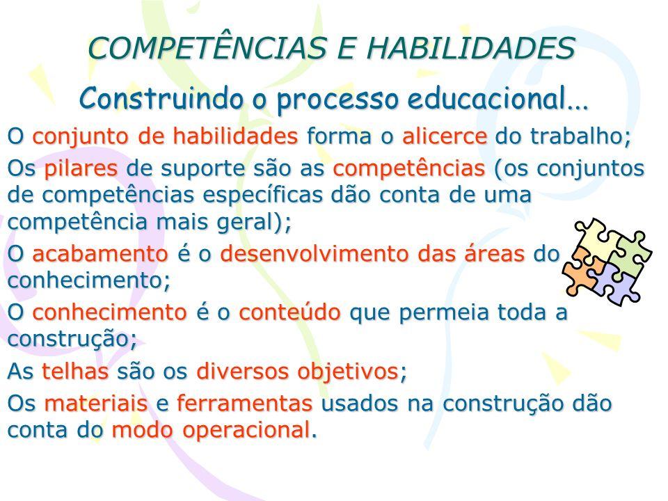 COMPETÊNCIAS E HABILIDADES Construindo o processo educacional... O conjunto de habilidades forma o alicerce do trabalho; Os pilares de suporte são as