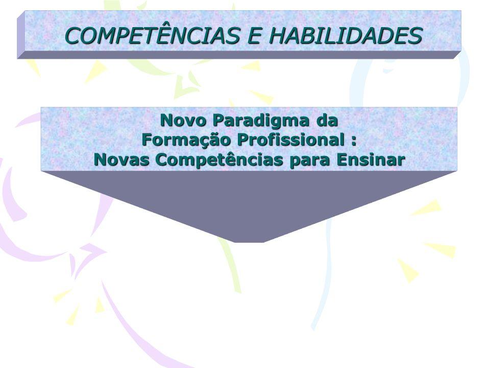 COMPETÊNCIAS E HABILIDADES Novo Paradigma da Formação Profissional : Novas Competências para Ensinar