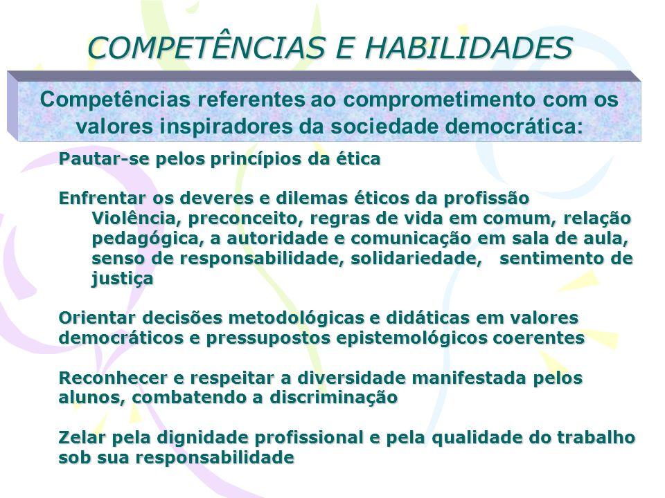 COMPETÊNCIAS E HABILIDADES Competências referentes ao comprometimento com os valores inspiradores da sociedade democrática: Pautar-se pelos princípios