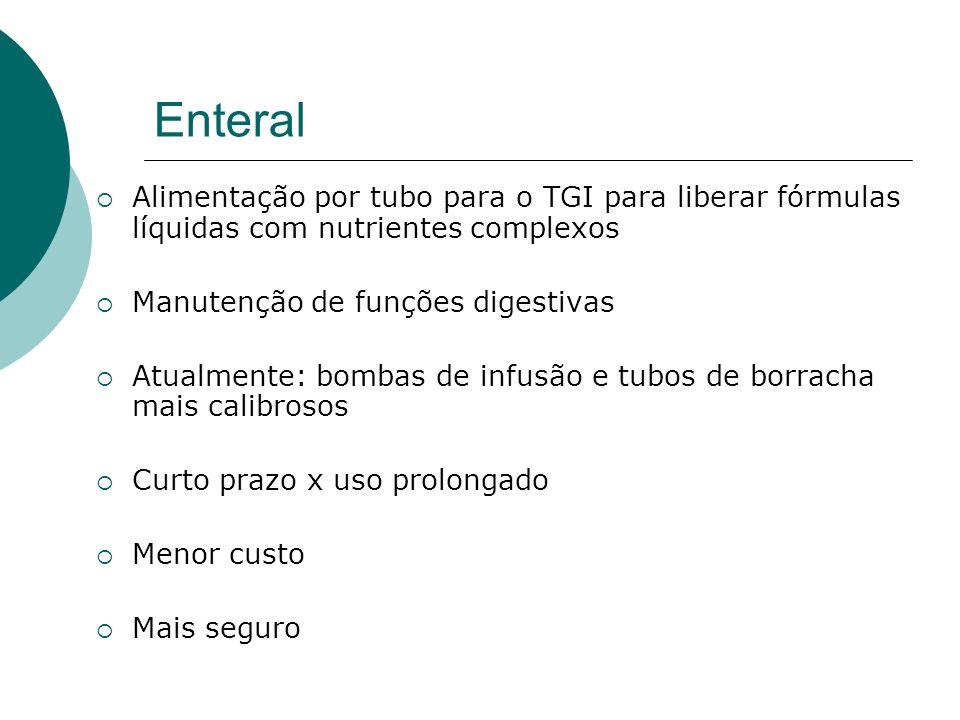 Enteral Alimentação por tubo para o TGI para liberar fórmulas líquidas com nutrientes complexos Manutenção de funções digestivas Atualmente: bombas de