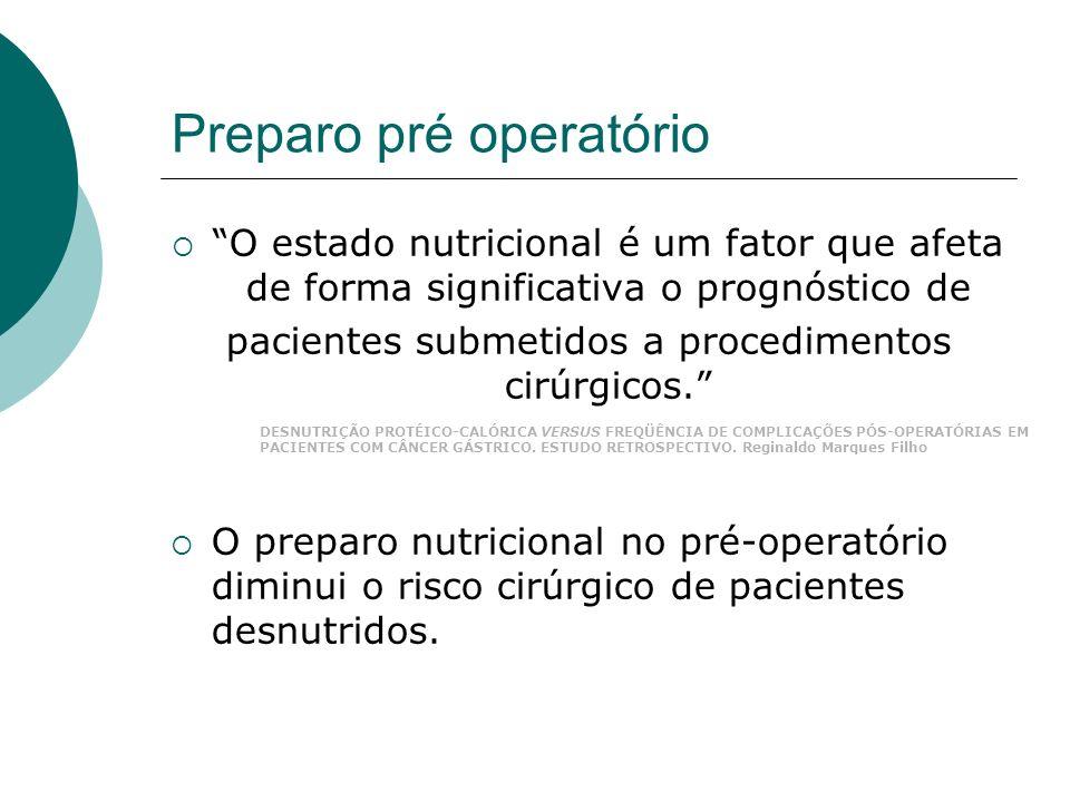 Preparo pré operatório O estado nutricional é um fator que afeta de forma significativa o prognóstico de pacientes submetidos a procedimentos cirúrgic