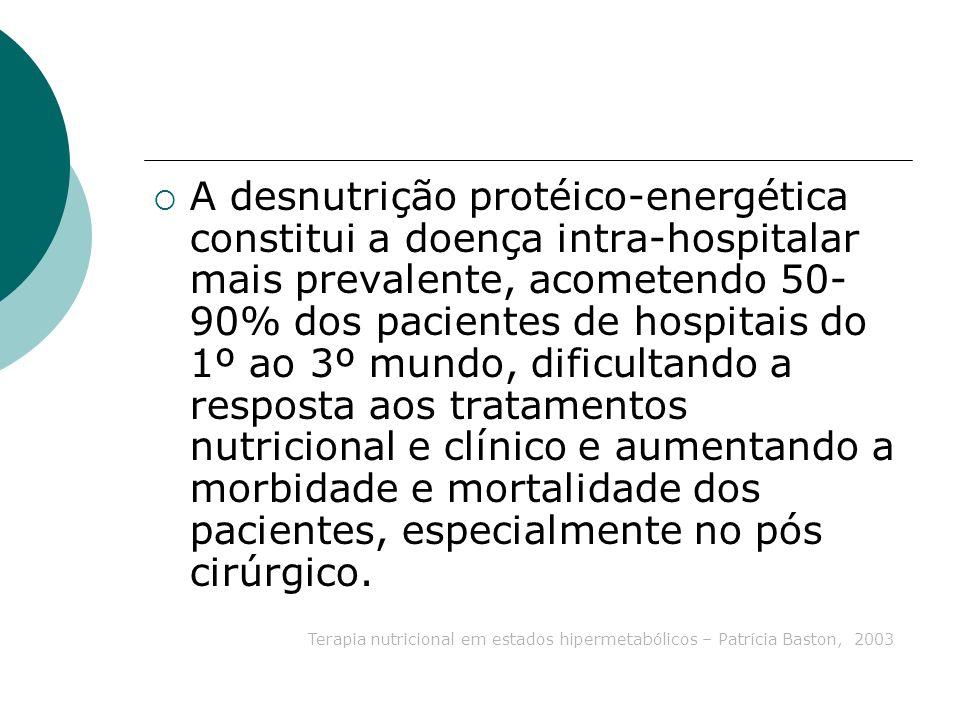 A desnutrição protéico-energética constitui a doença intra-hospitalar mais prevalente, acometendo 50- 90% dos pacientes de hospitais do 1º ao 3º mundo