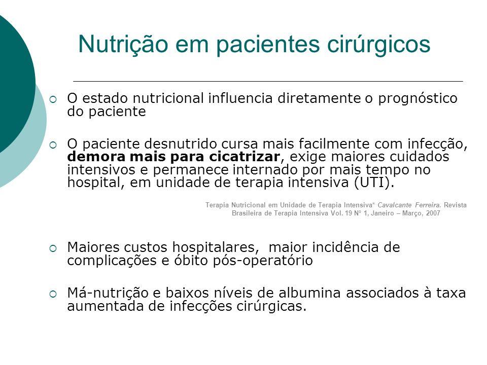 Nutrição em pacientes cirúrgicos O estado nutricional influencia diretamente o prognóstico do paciente O paciente desnutrido cursa mais facilmente com