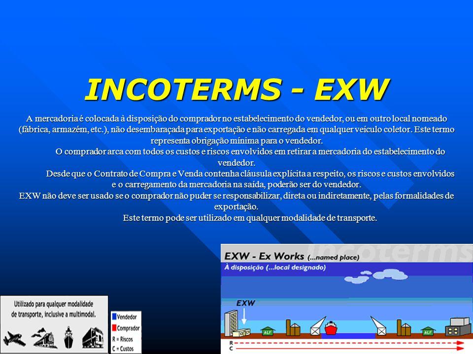 INCOTERMS - EXW A mercadoria é colocada à disposição do comprador no estabelecimento do vendedor, ou em outro local nomeado (fábrica, armazém, etc.),