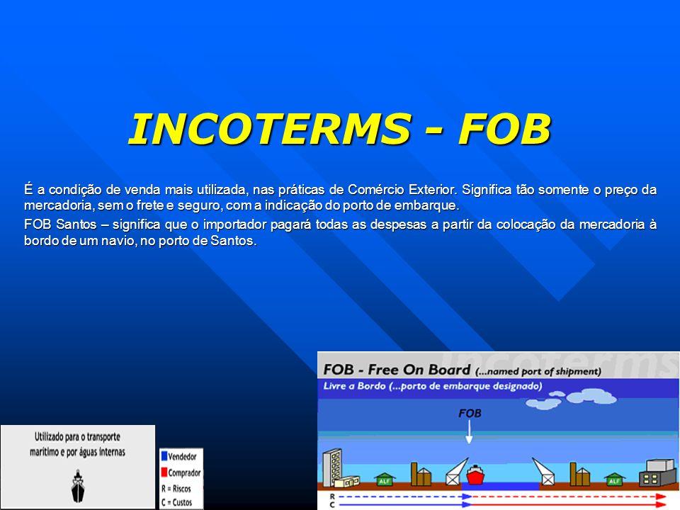 INCOTERMS - FOB É a condição de venda mais utilizada, nas práticas de Comércio Exterior. Significa tão somente o preço da mercadoria, sem o frete e se