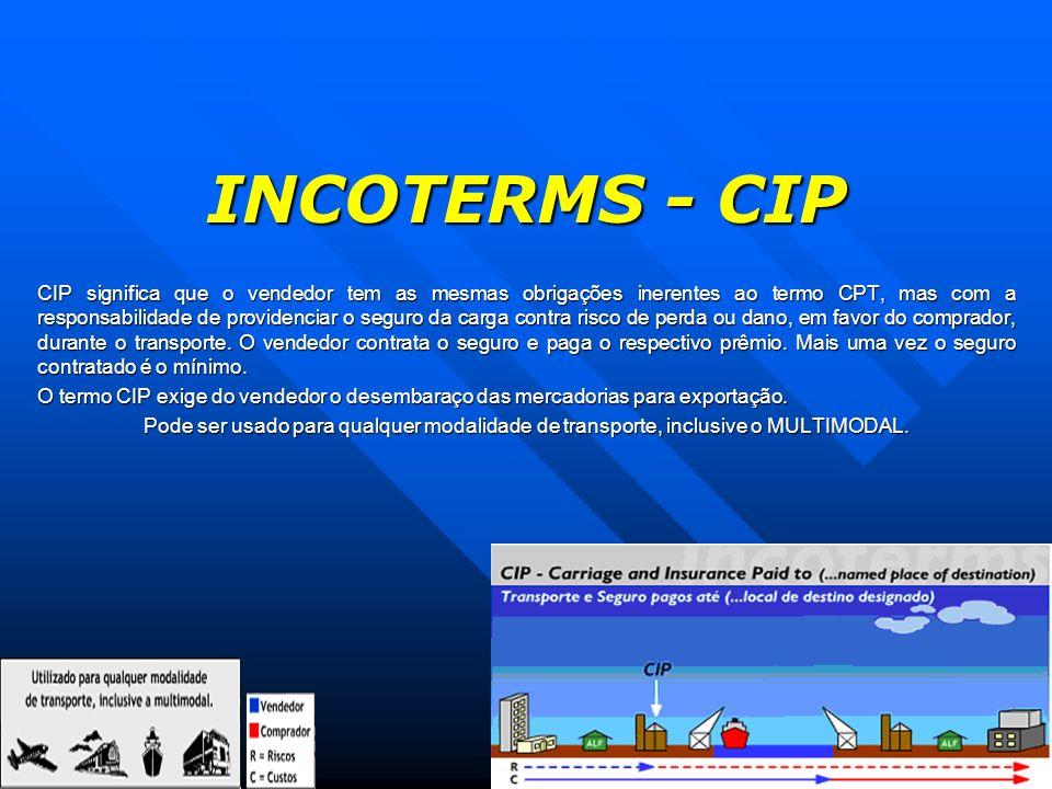 INCOTERMS - CIP CIP significa que o vendedor tem as mesmas obrigações inerentes ao termo CPT, mas com a responsabilidade de providenciar o seguro da c