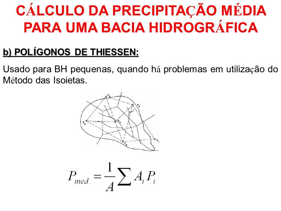 C Á LCULO DA PRECIPITA Ç ÃO M É DIA PARA UMA BACIA HIDROGR Á FICA b) POL Í GONOS DE THIESSEN: permite a atribui ç ão de um peso arbitr á rio a cada pluviômetro, de acordo com o seguinte procedimento: - no mapa da á rea, a localiza ç ão de cada pluviômetro é unida umas à s outras por meio de linhas retas ; - em seguida tra ç am-se linhas perpendiculares a cada segmento de reta que une dois pluviômetros adjacentes;