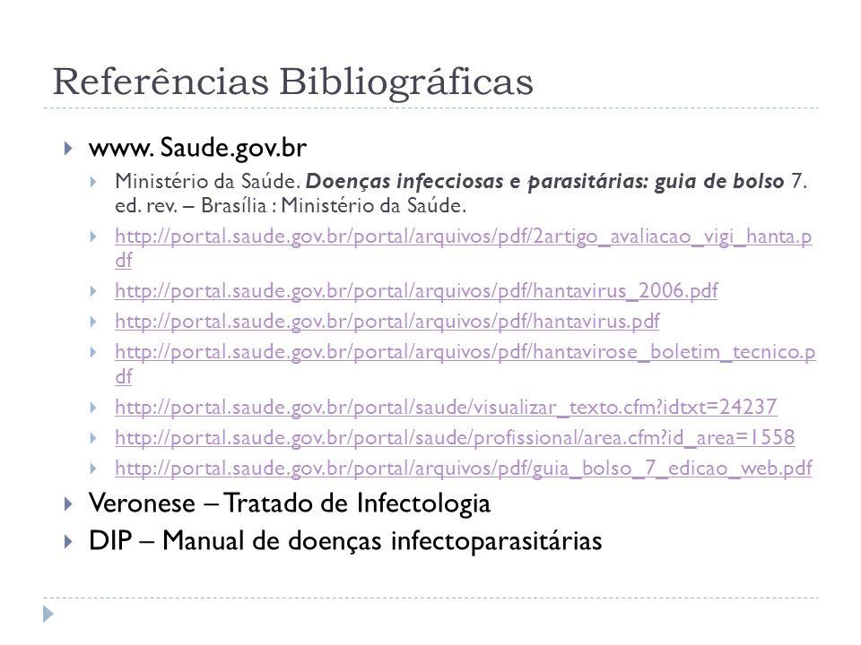 Referências Bibliográficas www. Saude.gov.br Ministério da Saúde. Doenças infecciosas e parasitárias: guia de bolso 7. ed. rev. – Brasília : Ministéri