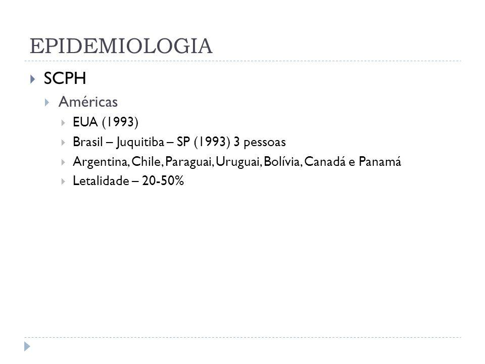 EPIDEMIOLOGIA SCPH Américas EUA (1993) Brasil – Juquitiba – SP (1993) 3 pessoas Argentina, Chile, Paraguai, Uruguai, Bolívia, Canadá e Panamá Letalida