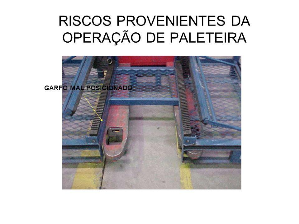 RISCOS PROVENIENTES DA OPERAÇÃO DE PALETEIRA GARFO MAL POSICIONADO