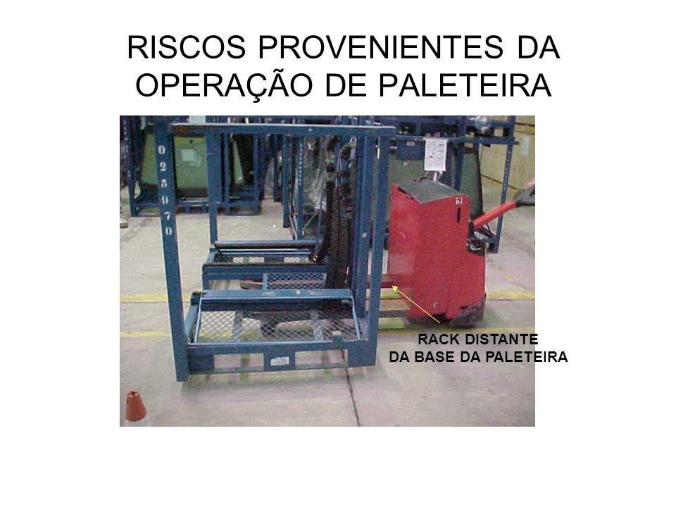 RISCOS PROVENIENTES DA OPERAÇÃO DE PALETEIRA RACK DISTANTE DA BASE DA PALETEIRA