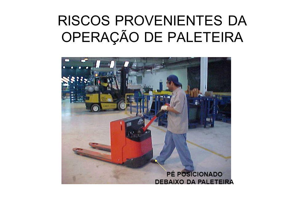 RISCOS PROVENIENTES DA OPERAÇÃO DE PALETEIRA PÉ POSICIONADO DEBAIXO DA PALETEIRA