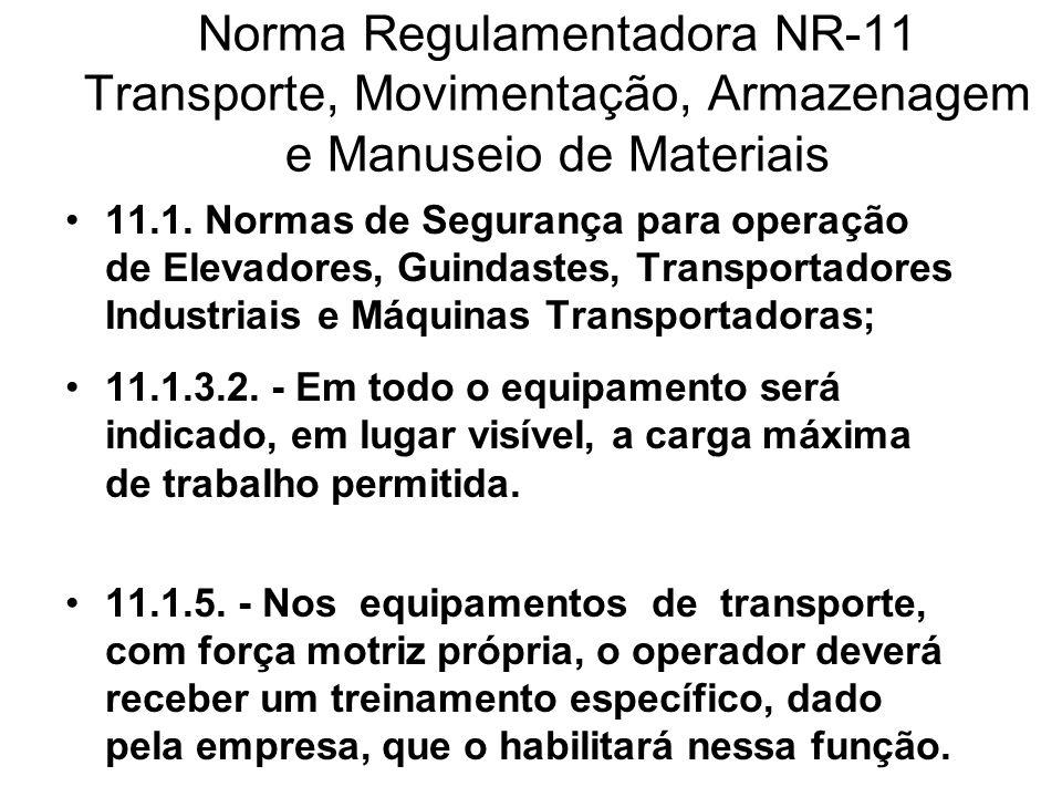 Norma Regulamentadora NR-11 Transporte, Movimentação, Armazenagem e Manuseio de Materiais 11.1. Normas de Segurança para operação de Elevadores, Guind